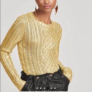 Lauren RALPH LAUREN- Aran Knit Gold Sweater